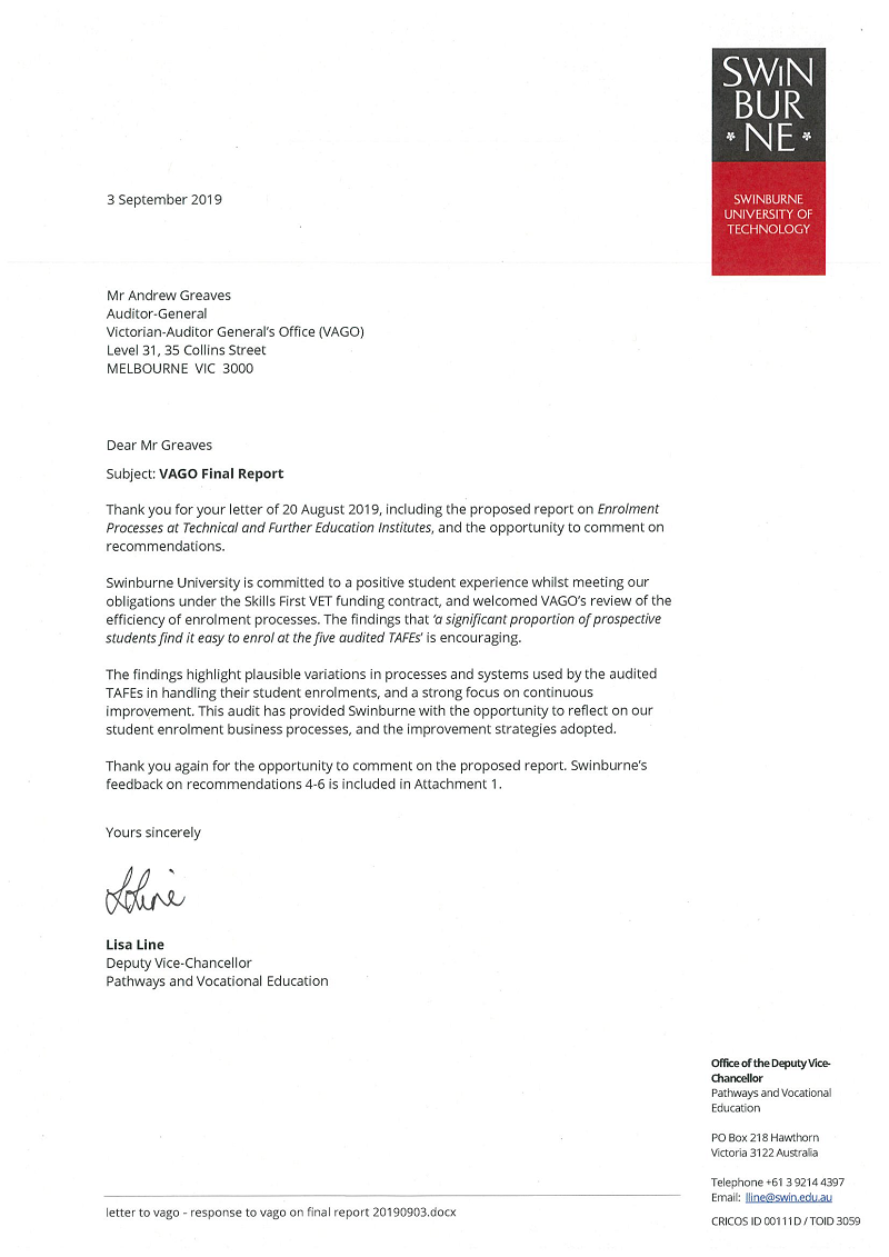 RESPONSE provided by the Deputy Vice-Chancellor, Swinburne