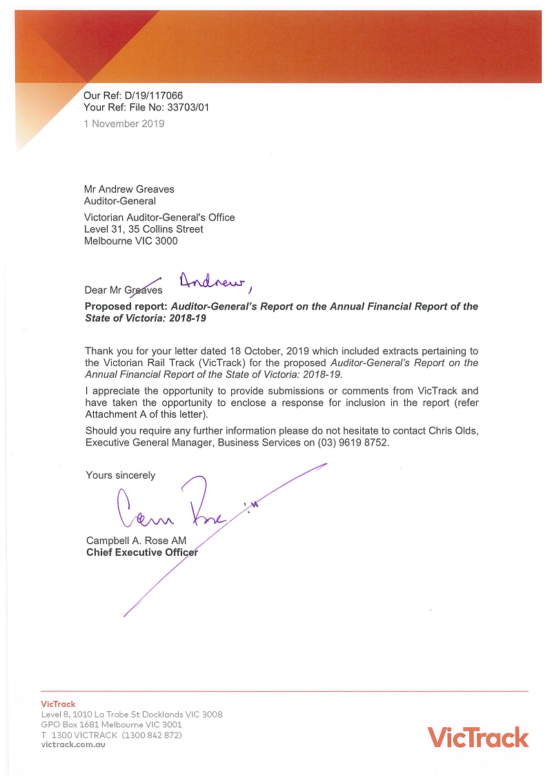 RESPONSE provided by the Chief Executive Officer, Victorian Rail Track, pg1