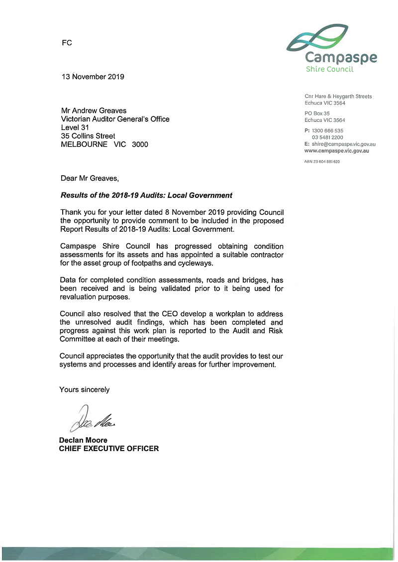 RESPONSE provided by the Chief Executive Officer, Campaspe Shire Council
