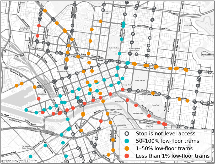 FIGURE 2N: Melbourne central areas and tram stop accessibility