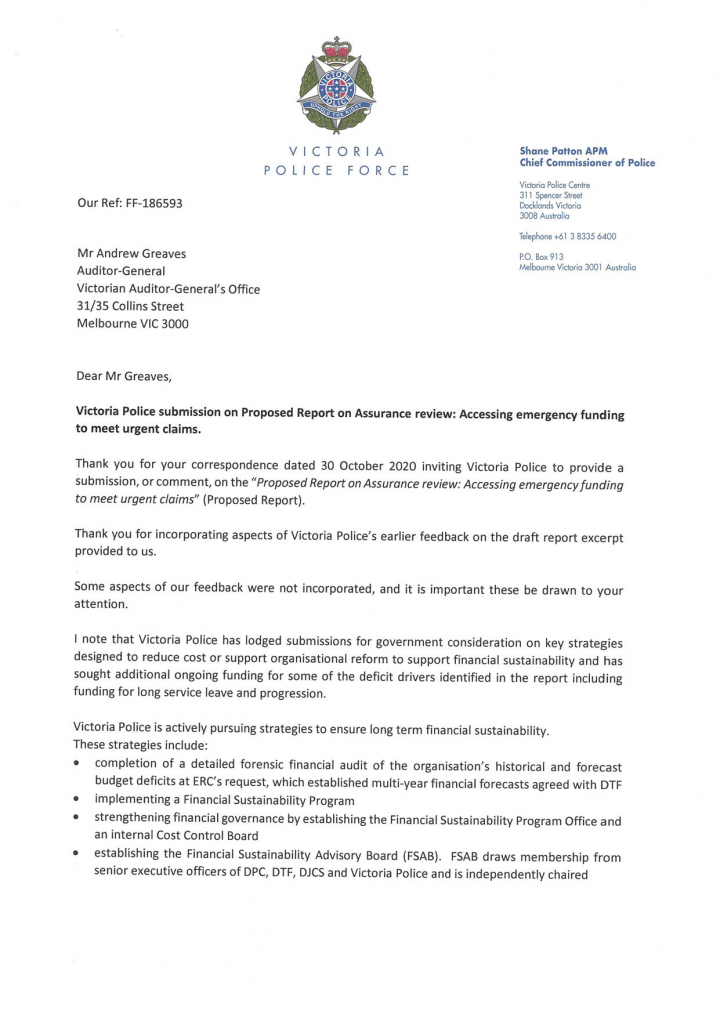 Victoria Police's response letter page 1