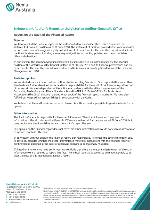 Independent Auditor's Report to the Victorian Auditor-General's Office, page 1.