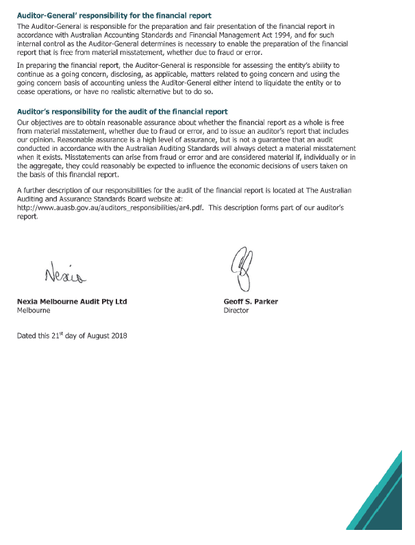 Independent Auditor's Report to the Victorian Auditor-General's Office, page 2.