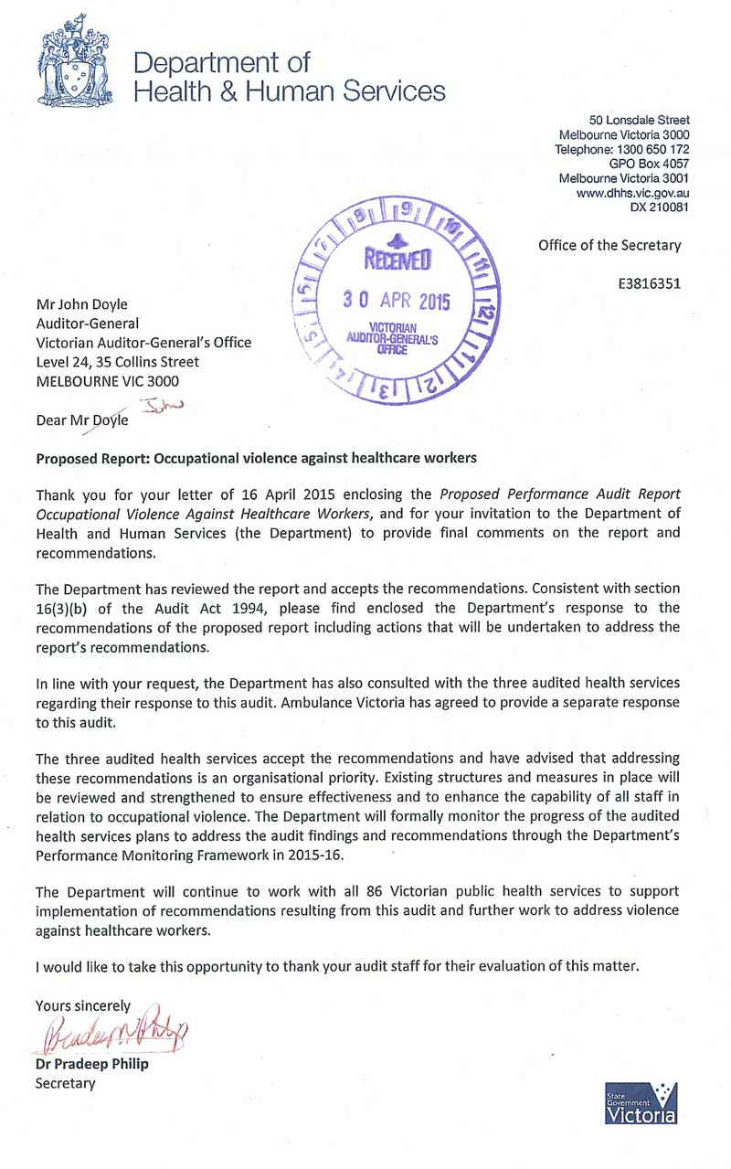 Response from the Secretary, Department of Health and Human Services