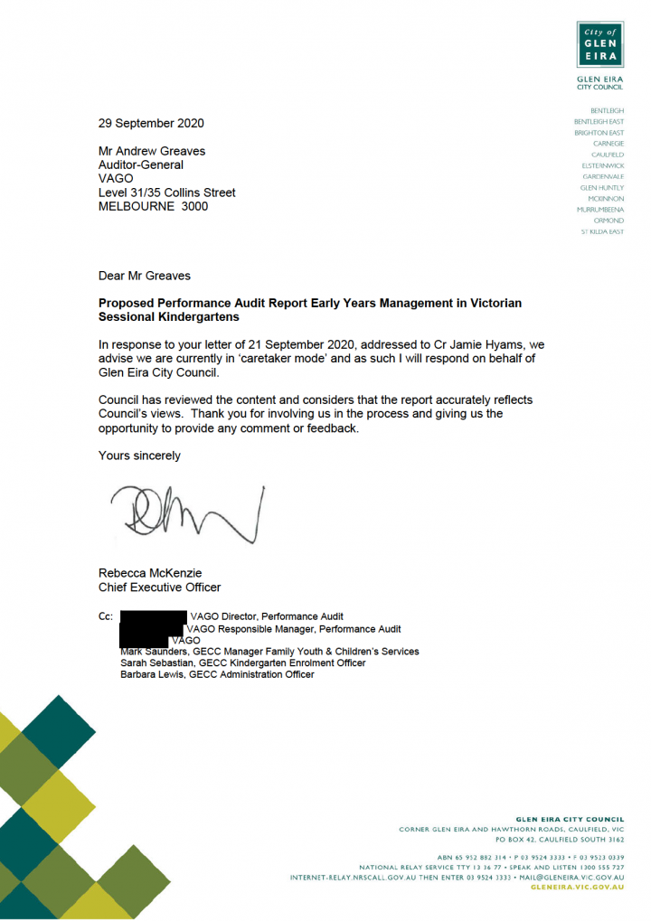 Glen Eira City Council response letter