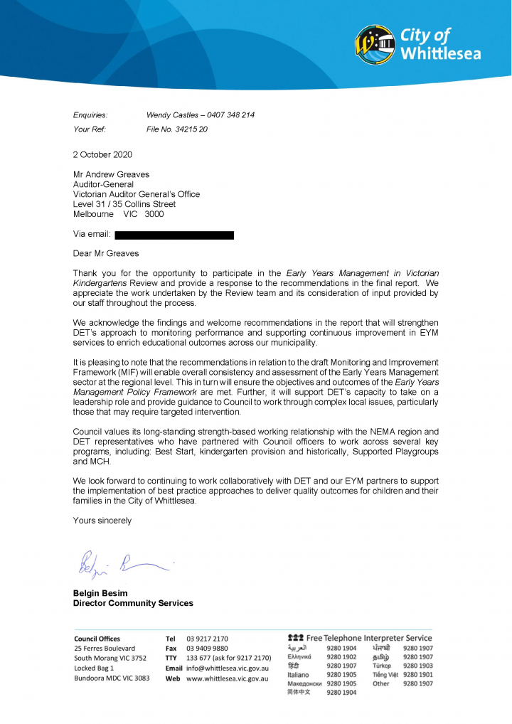 City of Whittlesea response letter