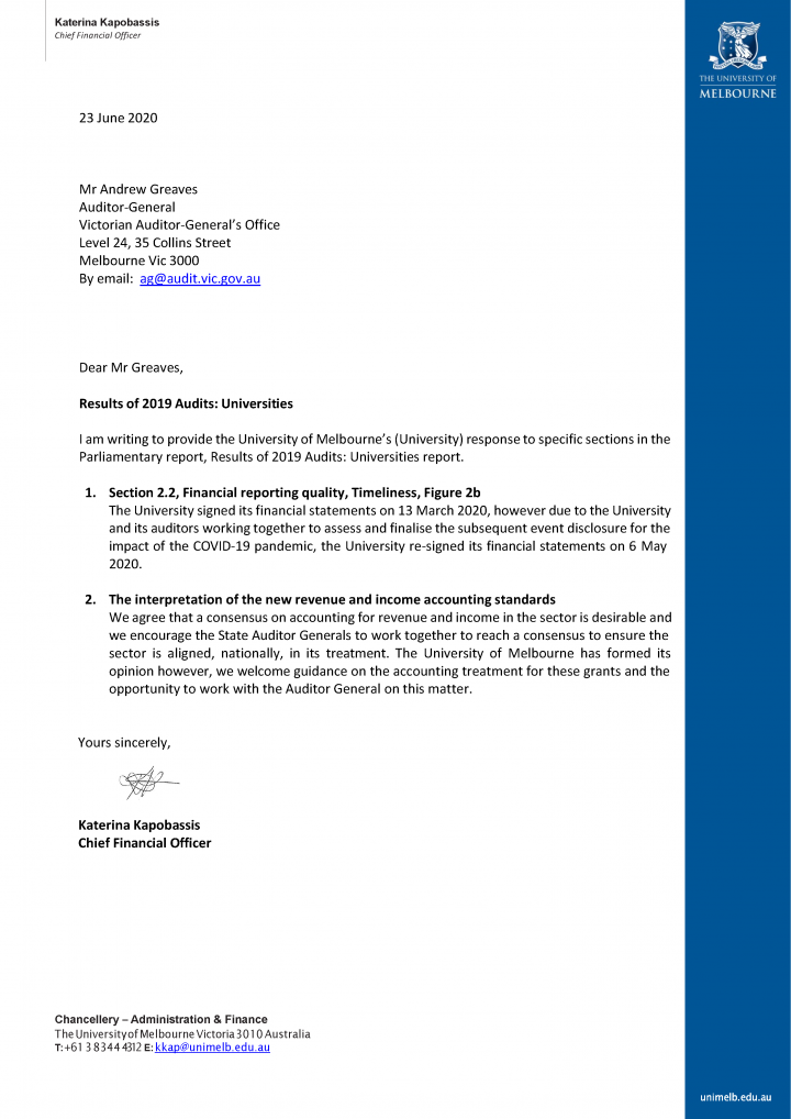 RESPONSE provided by the CFO, The University of Melbourne