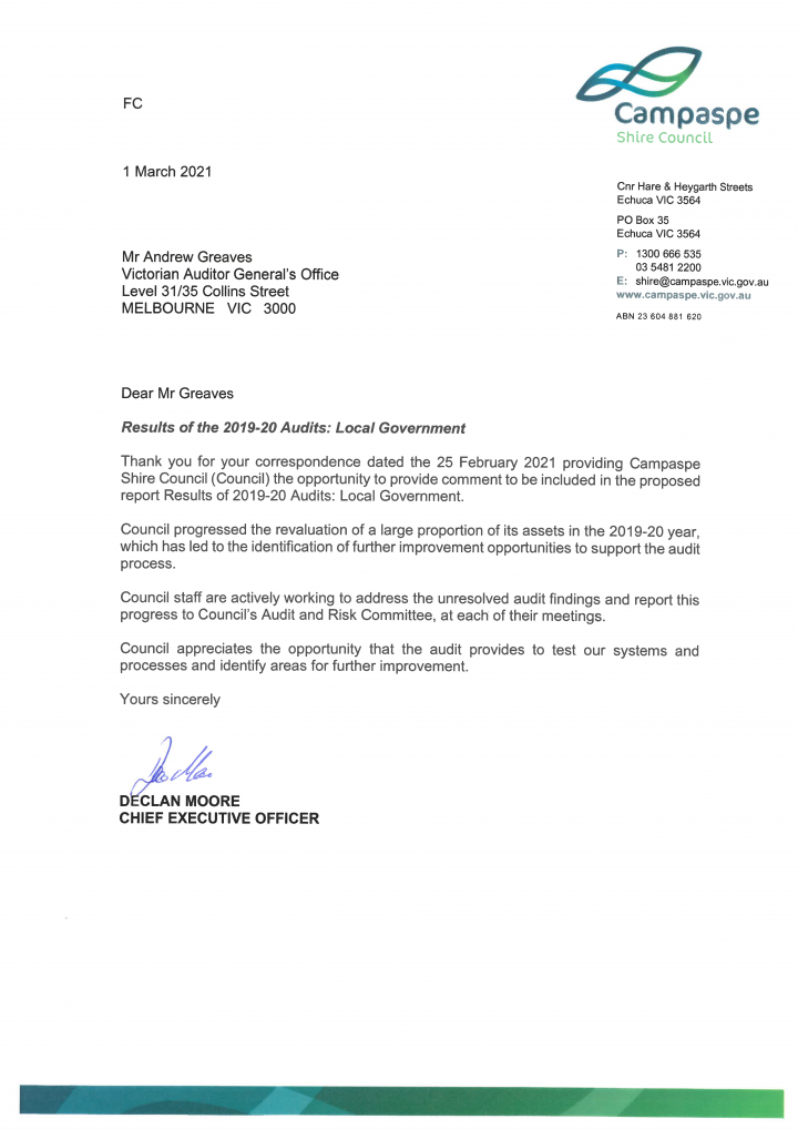 Campaspe Shire Council response letter