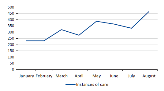 Instances of care at the Bridge Centre, 2019