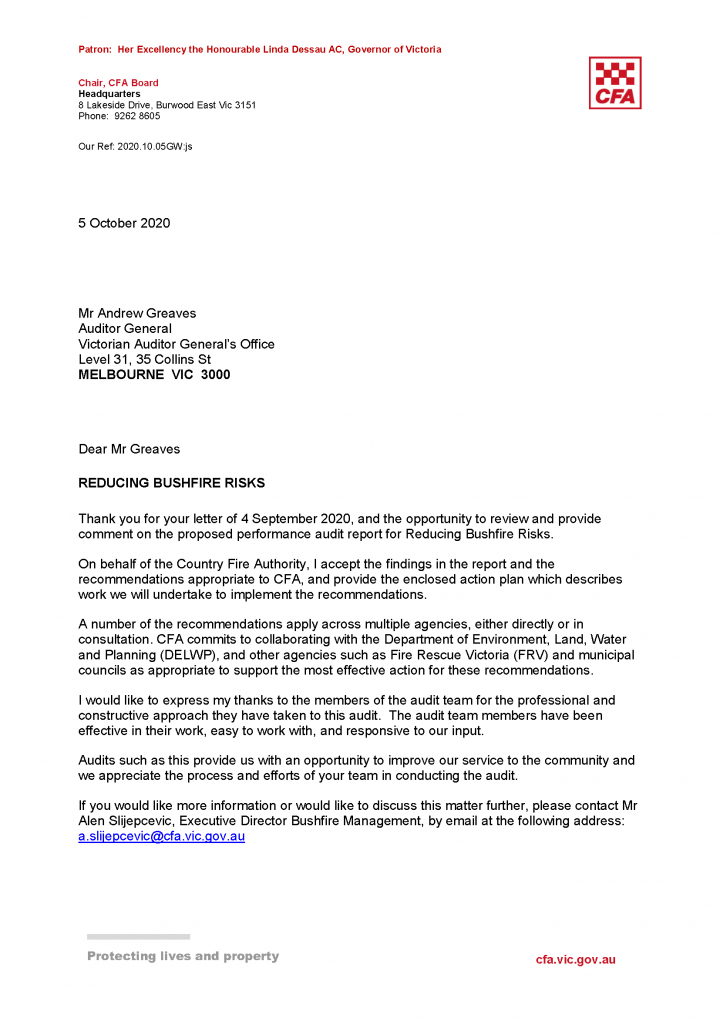 CFA response letter page 1