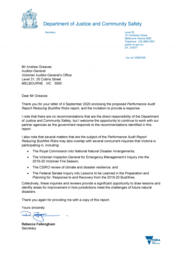 Department of Justice and Community Safety (EMV) response letter
