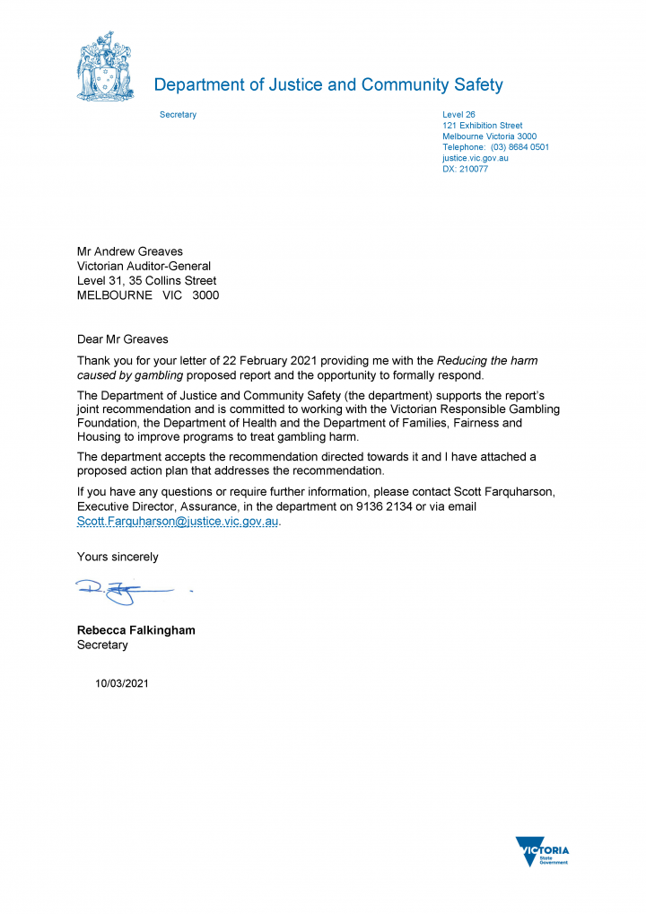 Department of Justice and Community Safety response letter