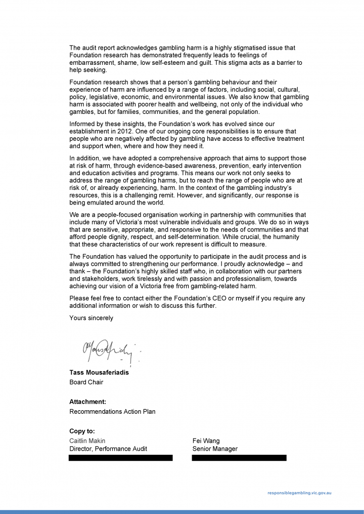The Foundation response letter page 2