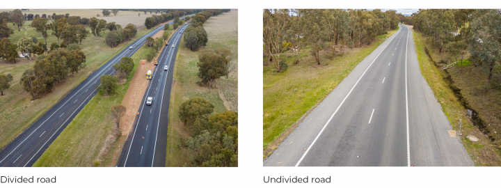 Figure 1F Examples of a divided and undivided road