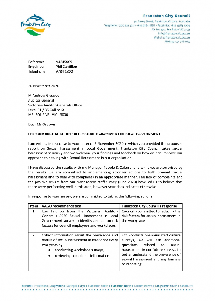 V1. Response to VAGO Audit on Sexual Harassment in Local Government from CEO Phil Cantillon prepared 20 November 2020 (A4345009)_Page_1.png