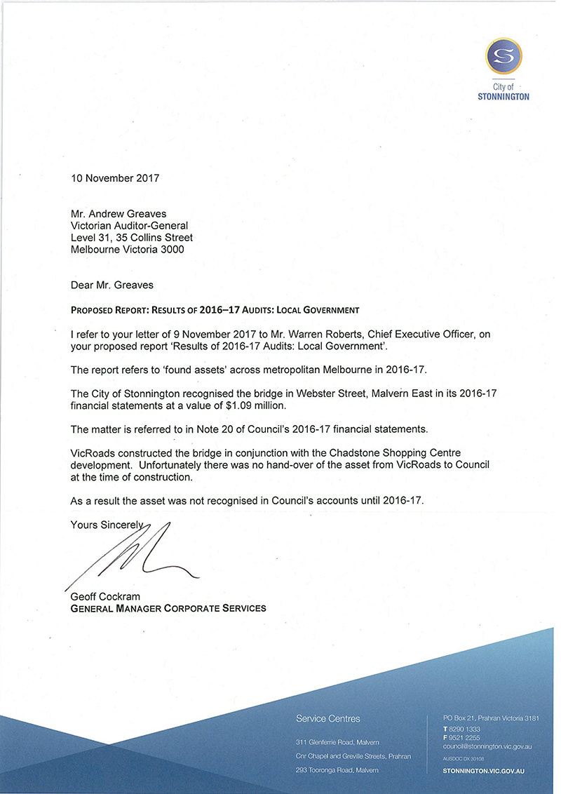 Response provided by the General Manager Corporate Services, City of Stonnington