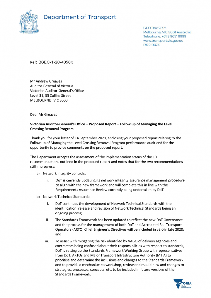DoT Response letter page 1