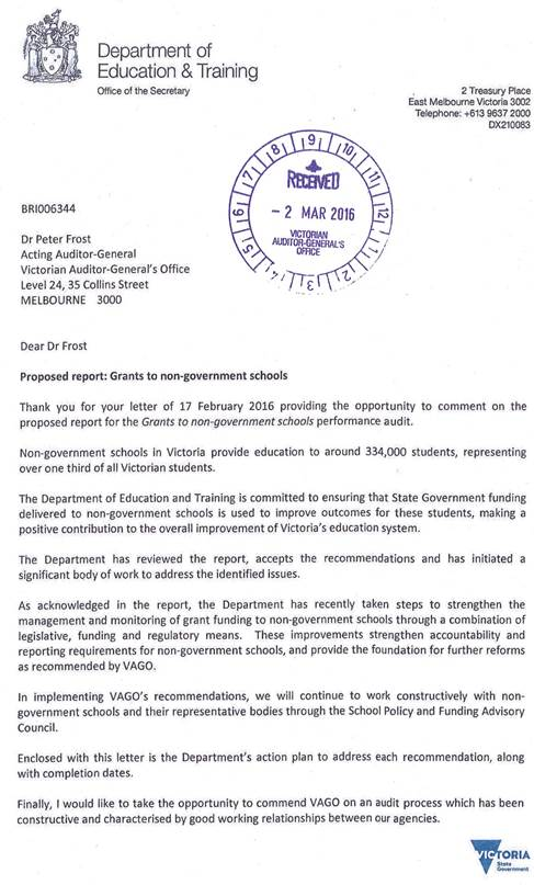 RESPONSE provided by the Acting Secretary, Department of Education & Training page 1
