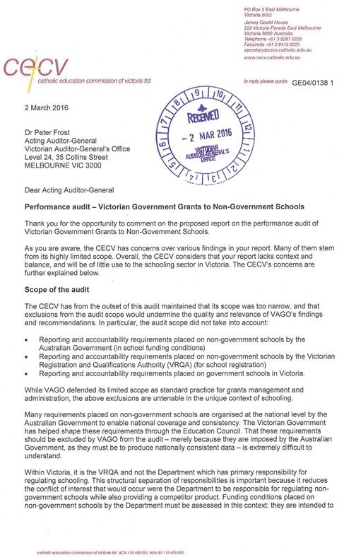 Response provided by the Executive Director, Catholic Education Commission of Victoria Ltd page 1