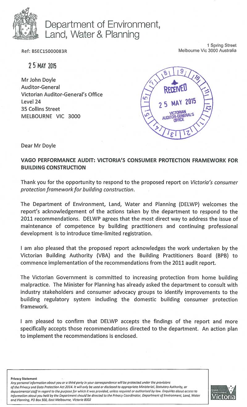 Response provided by the Secretary, Department of Environment, Land, Water & Planning, page 1