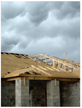 image shows a roof being constructed
