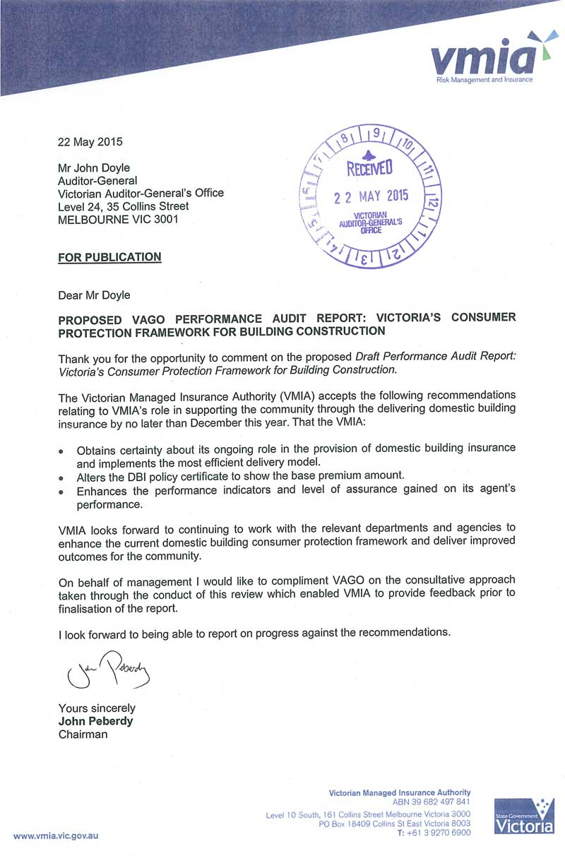 Response provided by the Chairman, Victorian Managed Insurance Authority