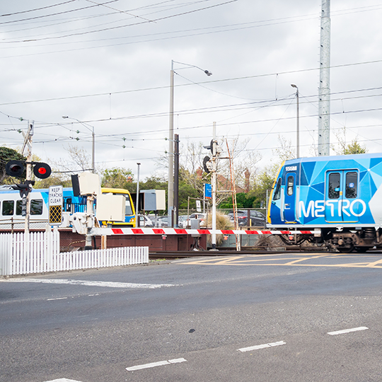 Railway level crossing in Surrey Hills, Melbourne. Photo courtesy of Nils Versemann/Shutterstock.com