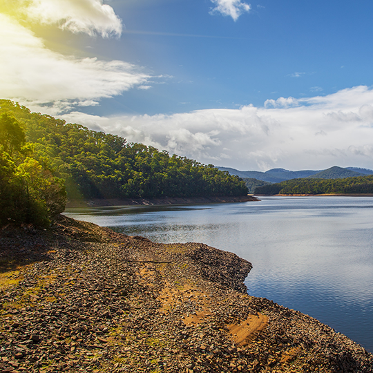 Maroondah Reservoir Lake at sunset, Victoria, Australia. Photo courtesy of Greg Brave/Shutterstock.com
