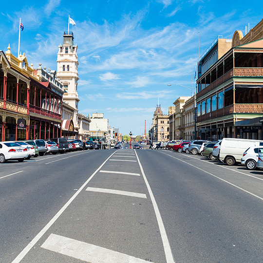 A streetscape of Lydiard Street in the colonial era town of Ballarat, whose wealth was financed by an 1860s gold rush. Photo courtesy of Nils Versemann/shutterstock.com