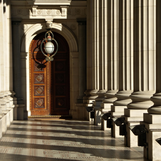 Doorway at Parliament House in Melbourne.