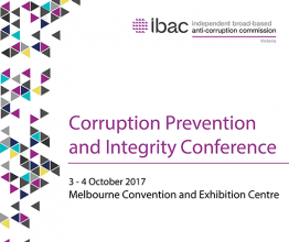 Advert for the Corruption Prevention and Integrity Conference.